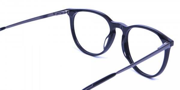 Glossy Black Round Glasses with Slim Arms - 3