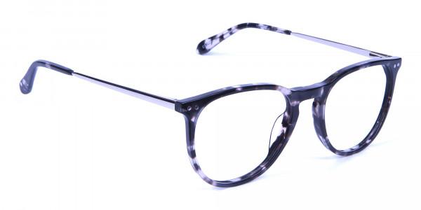 Black and Grey Round Tortoiseshell Eyeglasses -1