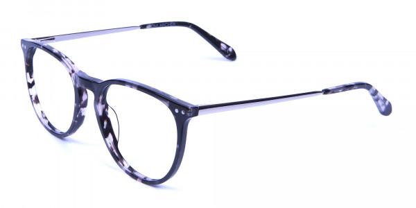 Black and Grey Round Tortoiseshell Eyeglasses -2