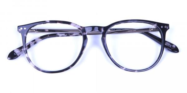 Black and Grey Round Tortoiseshell Eyeglasses -5