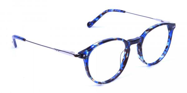 Ocean Blue Tortoise Glasses in Round -1