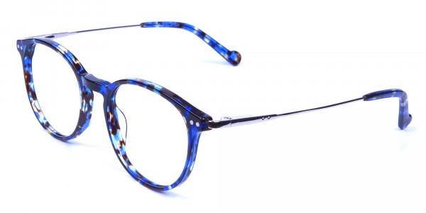 Ocean Blue Tortoise Glasses in Round -2