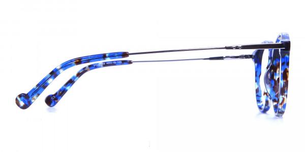 Ocean Blue Tortoise Glasses in Round  -3