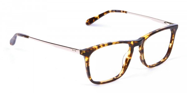 Tortoiseshell Glasses with Metal Arms - 1