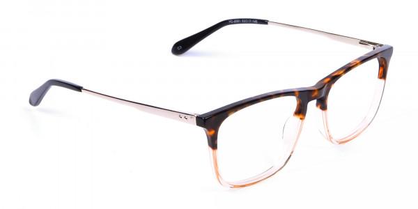 Tortoiseshell Rectangular Dual-Toned Glasses - 1