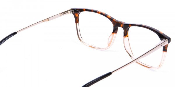 Tortoiseshell Rectangular Dual-Toned Glasses - 4