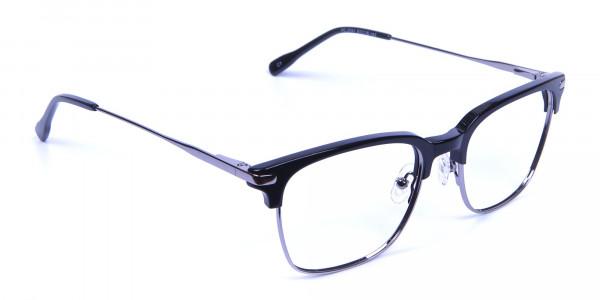 Black and Silver Browline Glasses -1