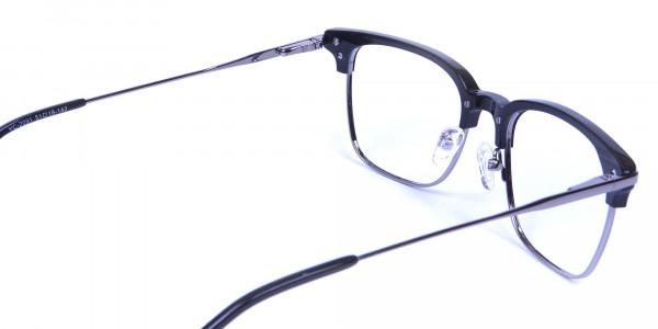 Black and Silver Browline Glasses -4