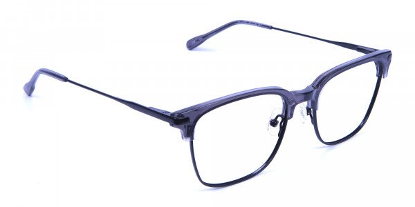 Transparent Grey Browline Glasses -1