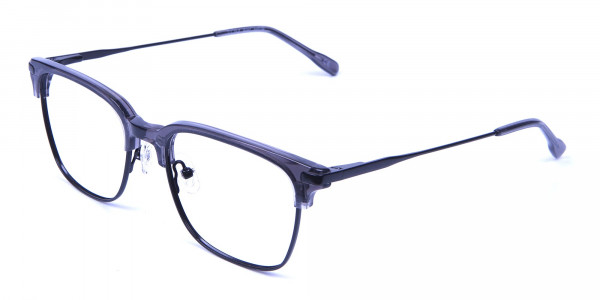 Transparent Grey Browline Glasses -2