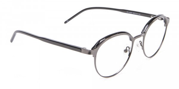 Black Mixed Material Round Glasses - 1