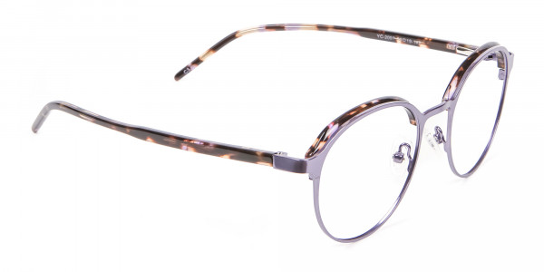 Purple Tortoiseshell Round Glasses - 1