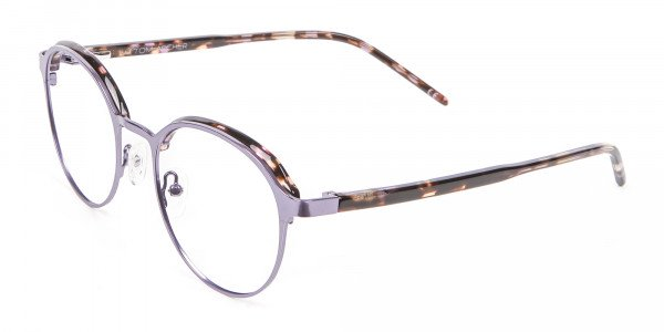 Purple Tortoiseshell Round Glasses - 2