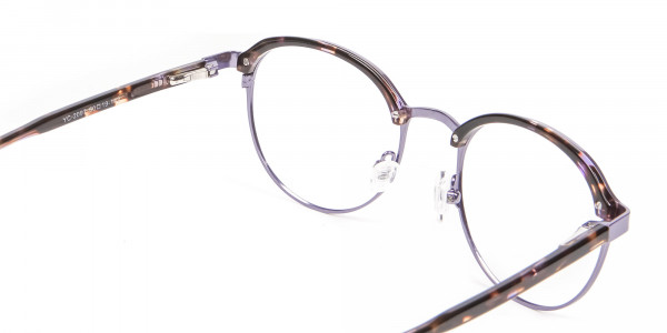 Purple Tortoiseshell Round Glasses - 4