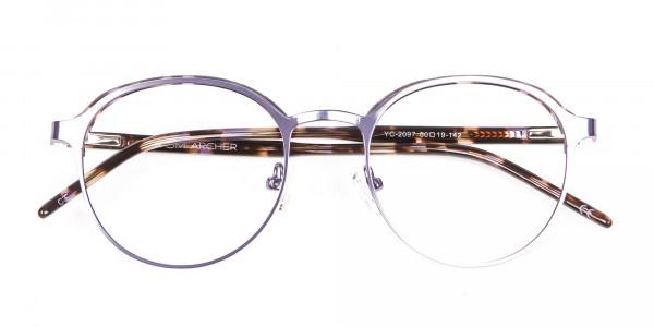 Purple Tortoiseshell Round Glasses - 5