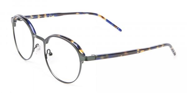 Green and Tortoiseshell Round Glasses - 2