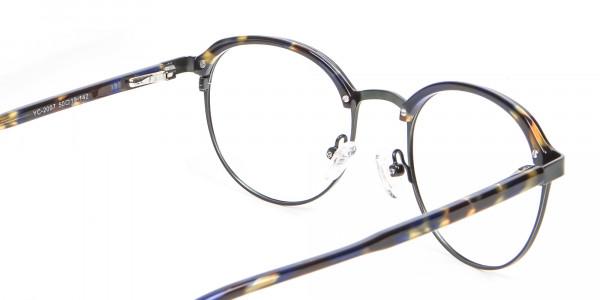 Green and Tortoiseshell Round Glasses - 4