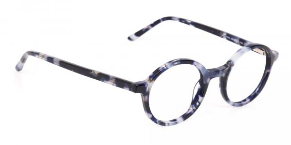 Navy Blue Tortoise Round Acetate glasses Unisex-2