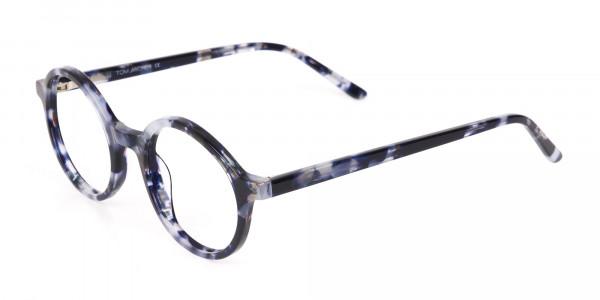 Navy Blue Tortoise Round Acetate glasses Unisex-3
