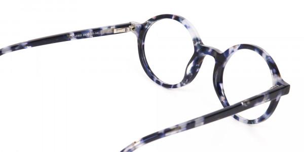 Navy Blue Tortoise Round Acetate glasses Unisex-5
