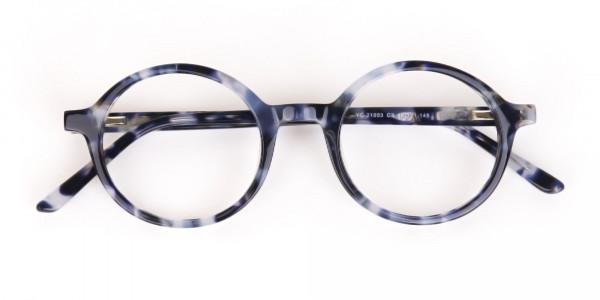 Navy Blue Tortoise Round Acetate glasses Unisex-6