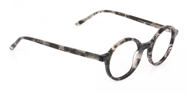 Marble Grey Acetate Round Eyeglasses Unisex-2