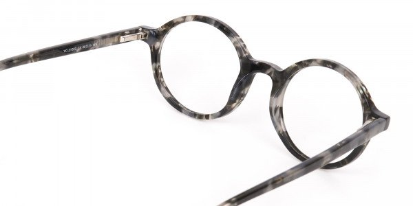 Marble Grey Acetate Round Eyeglasses Unisex-5