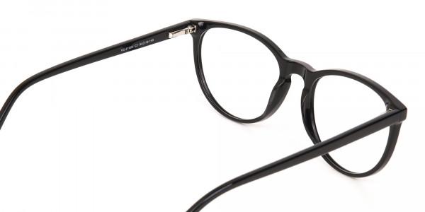 Black Acetate Round Eyeglasses Frame Unisex-5