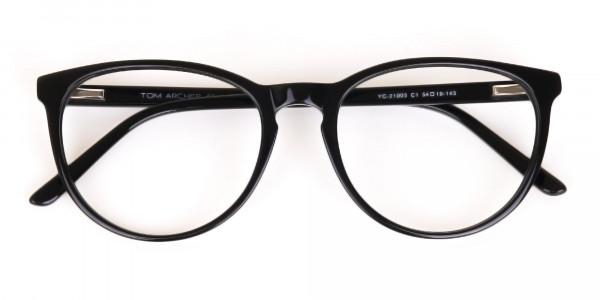 Black Acetate Round Eyeglasses Frame Unisex-6
