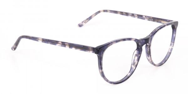 Dusty Blue Tortoise Acetate Round Glasses Frame-2