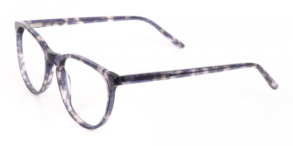 Dusty Blue Tortoise Acetate Round Glasses Frame-3