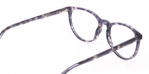 Dusty Blue Tortoise Acetate Round Glasses Frame-5
