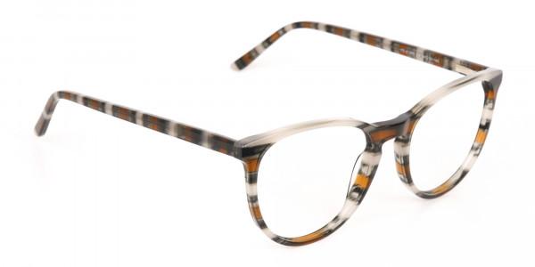 Silver Grey & Brown Stripe Round Eyeglasses-2