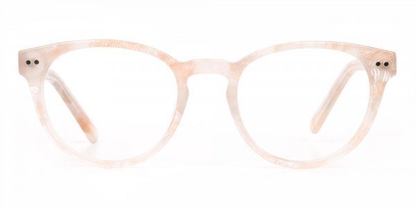 Brown Translucent Nude & Stripe round Glasses-6