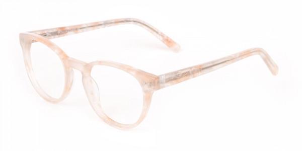 Brown Translucent Nude & Stripe round Glasses-3