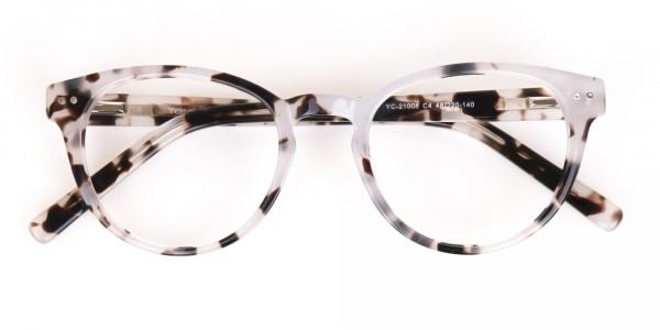 Marble Grey Round Acetate Eyeglasses Unisex-6