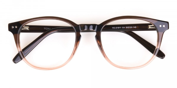 Mocha Brown & Crystal Beige Two-Tone Glasses-6