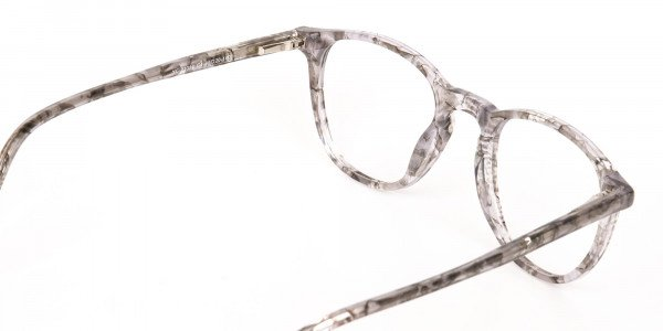 Silver Grey Marble Acetate Wayfarer Glasses-5