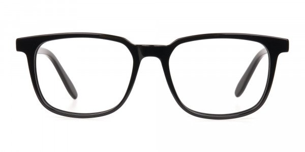 Black Acetate Rectangle Glasses Frame Unisex-1