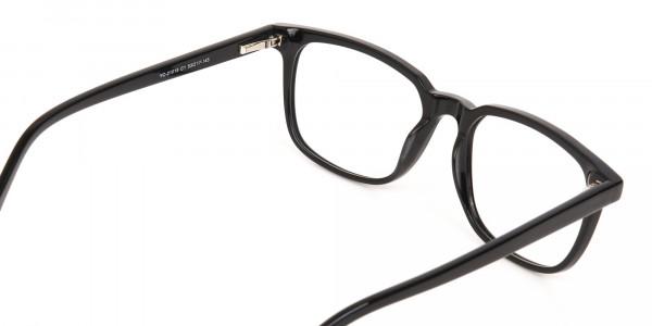 Black Acetate Rectangle Glasses Frame Unisex-5