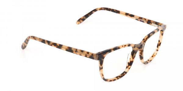 Cream Tortoise Rectangular Glasses Acetate Unisex-2