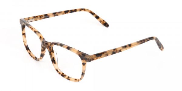 Cream Tortoise Rectangular Glasses Acetate Unisex-3