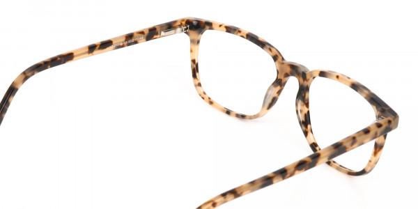 Cream Tortoise Rectangular Glasses Acetate Unisex-5
