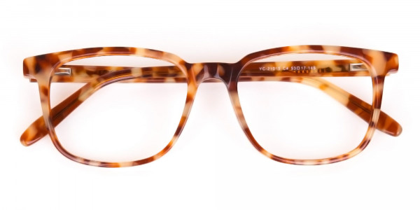 Caramel Tortoise Rectangular Glasses Unisex-6