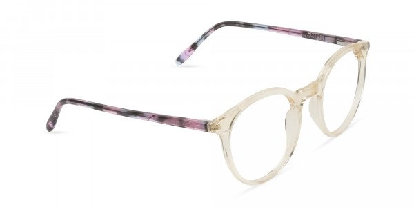 Crystal Amber Yellow Glasses Frames with Pink & Blue Tortoise Temple - 2