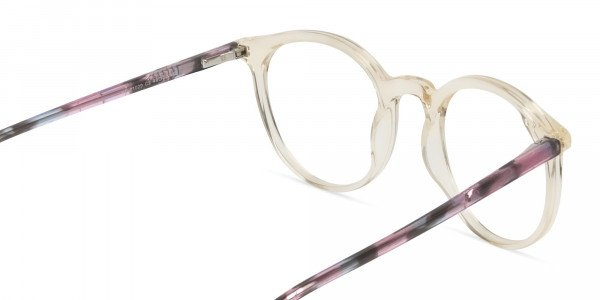 Crystal Amber Yellow Glasses Frames with Pink & Blue Tortoise Temple - 5