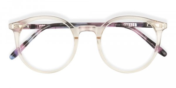 Crystal Amber Yellow Glasses Frames with Pink & Blue Tortoise Temple - 6