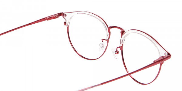 New Browline Round in Crystal & Red-5
