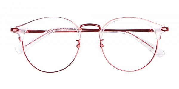 New Browline Round in Crystal & Red-6