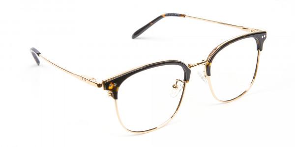 Square Tortoiseshell Browline Glasses - 1